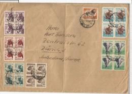 AFRICA DEL SUR CC CAPETOWN 1957 SELLOS FAUNA CEBRA LEON RINOCERONTE ELEFANTE MAMIFEROS - Animalez De Caza