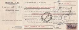Lettre Change 8/2/1950 Laurent ATTUYER électricité TSF CHORANGE Isère Pour Grenoble - Lettres De Change