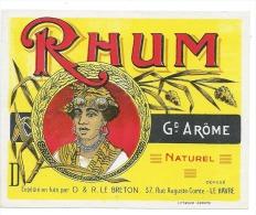 """Etiquette Rhum Grand Arôme Naturel  D & R Lebreton Le Havre  """"visage Femme Coiffe"""""""