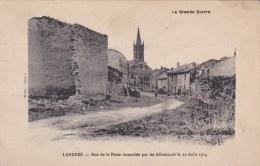 Landres Rue De La Poste Incendiée Par Les Allemands Le 22 Aout 1914 - Other Municipalities