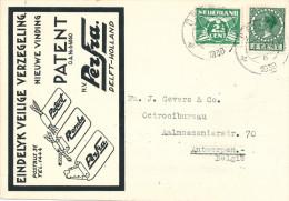 638/22 - NEDERLAND - Carte Privée Illustrée DELFT 1938 - Entete Verzegeling N.V. Perfra Patent - 1891-1948 (Wilhelmine)