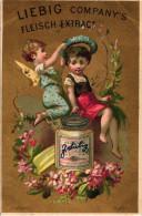 1 Karte Liebig Company Fleisch Extract S106, Arnold 46 - Engel I BILD01 Engel Setzt Mädchen Kranz Auf, Topf Unten - Liebig