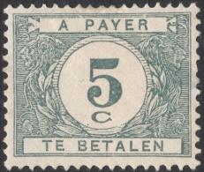 Belgium, 5 C. 1922, Sc # J22, Mi # 22, MH - Postage Due