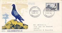 Colombophilie , Pigeon Et Pigeonnier , FDC De 1957 - Piccioni & Colombe