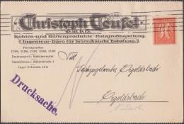 Allemagne 1922 Michel 182. Carte Postale, Timbre Perforé D´un Marteau. Christoph Teufel, Charbon, Sidérurgie, Bois, Mine - Géologie