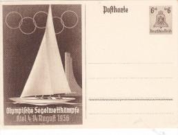 -> Entier Postal D´Allemagne (1936) : Bateau, Voille, Jeux Olympiques