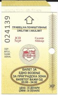 Bus Ticket For One Ride In Suburban Areas Of Skopje,Ticket Canceled,NEW PAPER - Europa