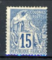 Colonie Francesi, Emissioni Generali 1881  N. 51 C. 15 Azzurro MH - Alphée Dubois