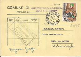 CICLISMO L.40,S 1045, ISOLATO IN TARIFFA C.P.,1968,TIMBRO POSTE ISOLA DEL CANTONE,GENOVA,COMUNE ISOLA DEL CANTONE,ENTE A - 1961-70: Storia Postale