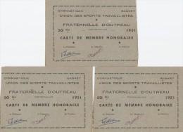 OUTREAU  -  62  -   3 Cartes De Membre Honoraire De 1951 -  Union Des Sports Travaillistes - Gymnastique
