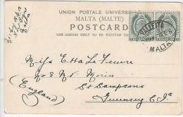 Malta: Postcard Of Strada San Giovanni, To Guernsey, EdVII ½d Pair, 6 Feb 1906 - Malta (...-1964)