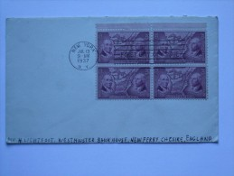 US 1937 COVER NEW YORK TO CHESHIRE ENGLAND ORDINANCE OF 1787 FDC - Lettres & Documents