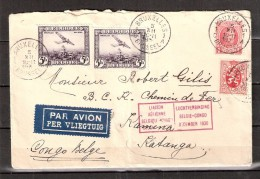 100330 Sc C5,187,205 LIAISON AERIENNE BELGIQUE-CONGO DECEMBRE 1930 CDS 1C BRUXELLES1[ ]//BRUSSEL>KAMINA VIA LEOPOLDVILLE - Airmail