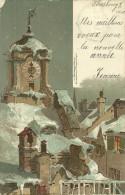 Allemagne Cpa Illustrateur Kuntzler Monatgrusse Januar Janvier Gugenberger Eglise En Hiver Kirche Unter Schnee 1901 - Guggenberger, T.