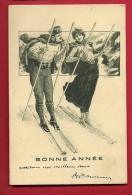 PAI-12  Bonne Année, Skieur Et Skieuse, Illustrateur. Précurseur. Circulé En 1904 - New Year