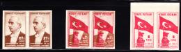 Turkey 1943 Republic 20th Anniversary 3 Imperforate Pairs Including Combination Print. Scott 923,827. - 1921-... Repubblica