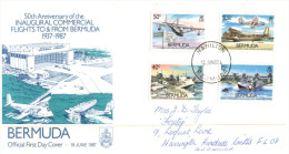 (628) FDC Cover - Bermuda - Aviation (1987) - Bermudes