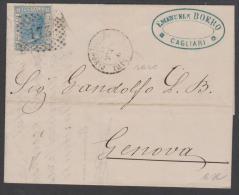 ITALY - 1871 Cover To Genova. Scott #35. Cagliari Oval Postmark In Blue - Italie