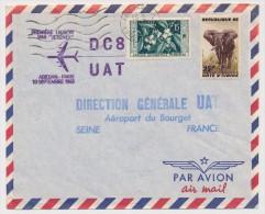 AOF - Cote D'Ivoire - Première Liaison Par Jetliner DC 8 UAT - ABIDJAN PARIS - 10 Septembre 1960 - Côte-d'Ivoire (1892-1944)