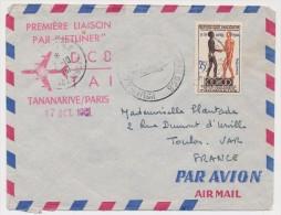 MADAGASCAR - Premiere Liaison Par Jetliner DC8 T.A.I. TANANARIVE PARIS - 17 Octobre 1961 - Madagascar (1960-...)