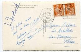 ARDECHE De LE LAC D ISSARLES    Cachet F 7 Sur CP De 1957 - Postmark Collection (Covers)