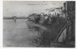 (RECTO/VERSO) TONNEINS EN 1916 - N° 4 - LES QUAIS - CACHET AMBULANT TRI FERROVIAIRE AGEN A BORDEAUX  - CPA - Tonneins