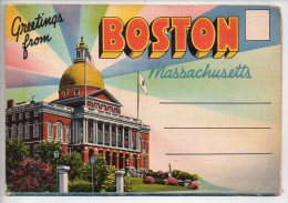 REF EX Carnet Poscards Greetings From Boston Massachusetts Carte à Système - Boston