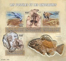 DELUXE IMPERF Central Africa 2015 Fossils Dinosaurs Prehistoric Animals S/S CA15603 - Stamps