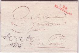 """An 13- 1805- Lettre De 94 / BRUXELLES  32 Mm Rouge + """" Préfet / Dépt De La Dyle - Postmark Collection (Covers)"""