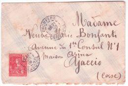 1910- Enveloppe Affr; 10 C Indichine Française Oblit. PNOMPENH / CAMBODGE  Pour La Corse - Cambodge