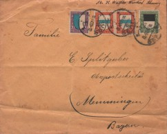 SUISSE - LETTER 1923 -> MEMMINGEN/GERMANY Mi #175-177 - Pro Juventute
