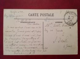 Facteur Boitier L'ETOILE JURA + Griffe Linéaire Hopital Temporaire Sur Cpa HOULGATE - Postmark Collection (Covers)