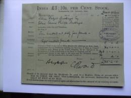 INDIA STOCK RECEIPT 1910 - Autres