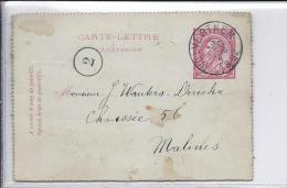 CL 6 Càd Wolverthem 13 DEC 1892 V.Malines.TB - Entiers Postaux