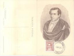 MARIANO MORENO RARA TARJETA POSTAL EDITOR J. COMISARENCO BUENOS AIRES CON MATASELLO SPECIAL COVER DE LA EXPOSICION ARGEN - Postkaarten