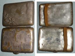 Rare Ancienne Porte-cigarette, Boite à Cigarettes En Laiton Argenté, LISIEUX - Empty Cigarettes Boxes
