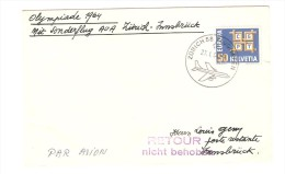 Suisse TP Europa S/L.vol Spécial Zürich-Innsbrück En 1964 Olympiade V.Innsbrück C.d'arrivée PR2515 - Poste Aérienne