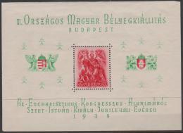 HUNGARY - 1938 Philatelic Exhibition Souvenir Sheet. Scott 528. MNH ** - Blocks & Kleinbögen