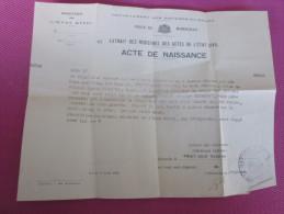 29 OCT 1951  EXTRAIT ACTE DE NAISSANCE  AUX CAMOINS CACHET REGISTRE ETAT CIVIL MARSEILLE - Religión & Esoterismo