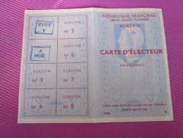 1958 VILLE ORAN CARTE D´ ELECTEUR Née 17 JULLET 1899 à ORAN ALGERIE FRANCAISE EX COLONIE - Documents Historiques