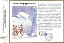 Sur Feuillet CEF , FDC Chamonix Ascenssion Du Mt Blanc Et Carte Postale Neuve Chamonix ,La Mer De Glace Et L'Aiguille Du - 1980-1989