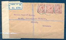 1919 , GRAN BRETAÑA , SOBRE CERTIFICADO A BERLIN , BANDA DE CIERRE DE CENSURA,  REVOLUCIÓN DE NOVIEMBRE DEL 18 - 1902-1951 (Kings)