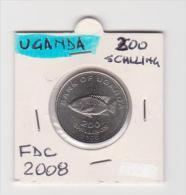 UGANDA   200 SHILLINGS  ANNO 2008 FDC - Uganda
