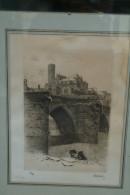 87 - LIMOGES - GRAVURE EAU FORTE - LA CATHEDRALE ET LA VIENNE - N° 30/100 - Engravings
