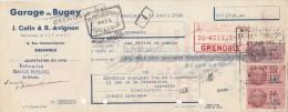 Lettre Change 25/4/1939 J COLIN & R AVIGNON Garage Du Bugey GRENOBLE Isère Pour EV - Lettres De Change