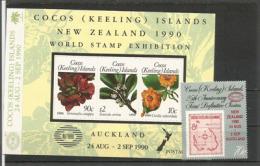 COCOS KEELING ISLANDS - NEW-ZEALAND,  Emission Conjointe World Stamp Exhibition 1990 Auckland. Côte 14 €