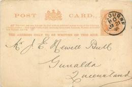 AUSTRALIE - VICTORIA -  CARTE POSTALE  - ENTIER POSTAL ONE PENNY ORANGE - VOYAGEE 1896 - De MELBOURNE AU QUEENSLAND - 1850-1912 Victoria