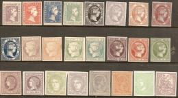 LOTE DE 24 SELLOS PERFECTOS - 1850-68 Kingdom: Isabella II