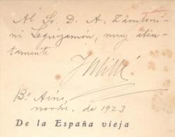 DE LA ESPAÑA VIEJA (VERSOS) JUAN MILLE Y GIMENEZ BUENOS AIRES AÑO 1923 JESUS MENENDEZ E HIJO LIBREROS-EDITORES DEDICADO - Littérature