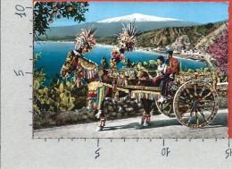 CARTOLINA VG ITALIA - Carretto Siciliano - CECAMI 1002 - 10 X 15 - ANN. 1957 TARGHETTA BUONA PASQUA - Folklore